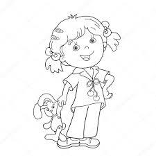 Kleurplaat Pagina Overzicht Van Cartoon Meisje Met Speelgoed Haas