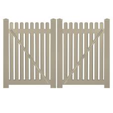 Weatherables Provincetown 8 ft W x 5 ft H Khaki Vinyl Picket Fence