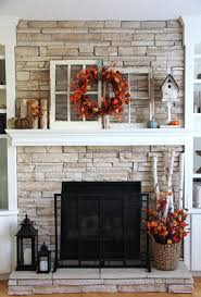 Fall Fireplace Decor Idea with Old Windows and Fall Leaves