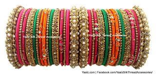 Bridal Bangle Set Designs Heavy Metal Bridal Bangle Set In Pink Orange Green Colors