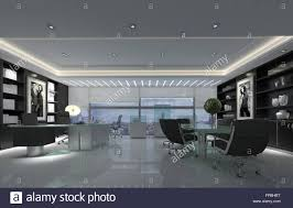 decorated office. Modern Spacious Office With Boardroom Table Decorated In Black And White Tones Polished Floor View From Skyscraper Window Of City On Overcast Day