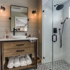 bathroom design ideas walk in shower. Modren Walk Example Of A Transitional Black And White Tile Cement Floor  Multicolored Walk With Bathroom Design Ideas Walk In Shower R