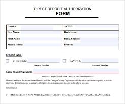 Employee Direct Deposit Authorization Agreement Sample Direct Deposit Authorization Form 7 Download Free