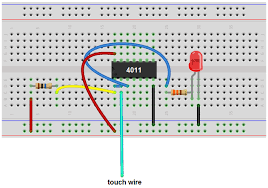 how to build a touch sensor circuit a nand gate chip touch sensor circuit nand gate chip breadboard schematic