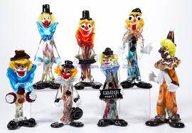 assorted murano art glass clowns lot of seven