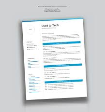 Professional Resume Template In Microsoft Word Free Used To Tech