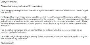 Pharmacy Cover Letter Examples Sample Cover Letter Job Application Pharmacist Examples Of