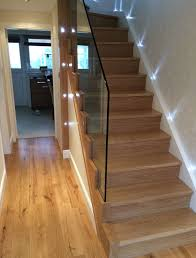 A newly created wooden staircase