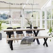 oak dining table with black steel x frame dining tables