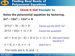 example 1a solve the polynomial equation by factoring 2x6 10x5