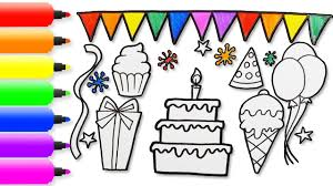 How To Draw Birthday Cake Ice Cream Cap And Balloons Birthday