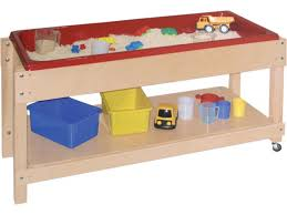 large wooden sand and water table with lid shelf 46x17