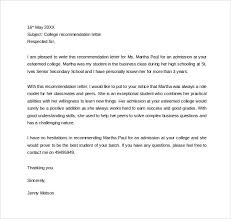 college admissions letter of recommendation sample 25 sample personal letters of recommendation pdf doc