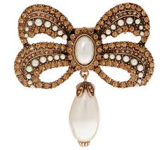 Joan Rivers Victorian Style <b>Crystal Bow</b> Pin with Faux <b>Pearl</b> Drop ...