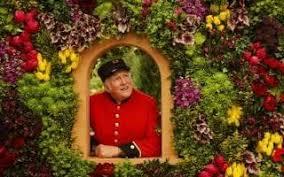 flowers garden. A Chelsea Pensioner Poses On The Marks And Spencer\u0027Spirit Of Summer: Mediterranean Flowers Garden