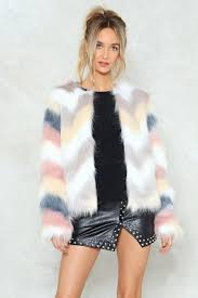 nasty gal pastel multi coloured faux fur jacket fluffy chevron design jackets pastels