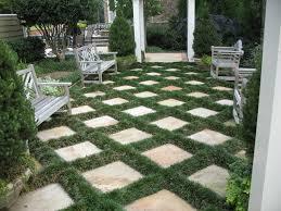 flagstone patio and mondo grass