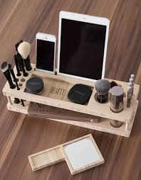 wood bench beauty station wood makeup organizer makeup holder ipad stand desk