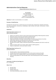 Resume Templates For Administrative Positions Simple Clerical Resume Template Kenicandlecomfortzone