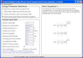 figure 20 main screen for the design conditions routine showing page one of three pages of nozzle equations