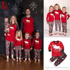 Family Christmas Pajamas Sets Winter Warm Xmas Elk Kids Women Men Adults Sleepwear Cotton Pyjamas Outfits DHL Freely Hawaiian