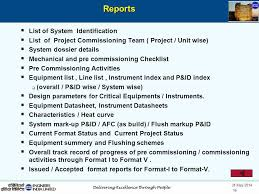 mechanical equipments list pcams pre commissioning commissioning activities management system