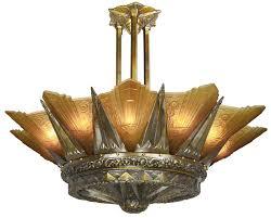 french mille 12 light art deco slip shade chandelier