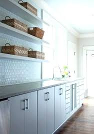 lining kitchen cabinets shelves window design ideas long features white flat front painted shelv