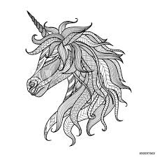 Fotografie Obraz Drawing Unicorn Zentangle Style For Coloring Book