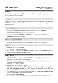 Sap Basis Resume 2 Years Experience Resume For Study