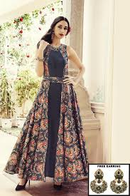 Picture Of A Mesmerizing Black Indo Western Anarkali Suit