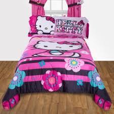D Hello Kitty Floral Reversible TwinFull Bedding Comforter U0026 Full Size Sheet  Set