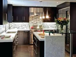 Gray Subway Tile Backsplash Dark Cabinets Kitchen Ideas Homes