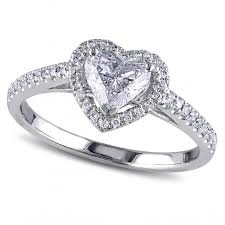 heart shaped diamond halo engagement ring in 14k white gold 1 00ct