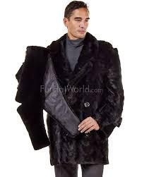 cameron mosaic black mink pea coat for men
