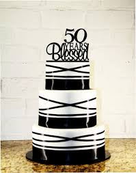 50th Anniversary Cupcake Decorations 50th Birthday Cake Topper 50 Years Blessed Custom 50th