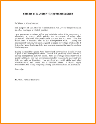 Employment Recommendation Letter Examples Sinma