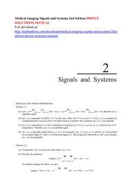 Signals And Systems Oppenheim Solutions Medical Imaging Signals And Systems 2nd Edition Prince
