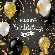 Happy Birthday Background And Black White With Gloden Balloons