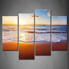 amazon 4 panel wall art sunset and beach with sea wave painting the picture print on canvas seascape pictures for home decor decoration gift piece  on amazon beach canvas wall art with amazon 4 panel wall art sunset and beach with sea wave painting