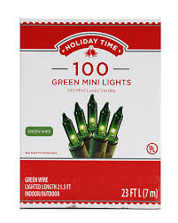 100 Count Mini Lights Holiday Time 100 Green Mini Lights Green Wire 2 Pk