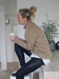 leather leggings neutral sweater