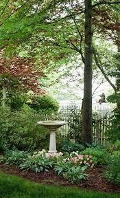 Bird Bath Garden Design Simple Garden Planting Design Coupled With A Classic Picket