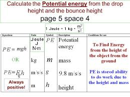 2 calculate the potential energy from the drop height and the bounce height page 5 space 4 always positive