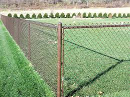 chain link fence post.  Chain Post For Chain Link Fence Brown Caps Setting  With