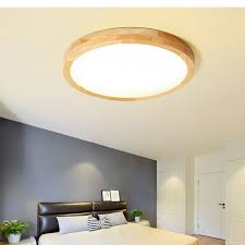 LukLoy <b>Nordic Round</b> Solid Wood LED <b>Ceiling Light</b> Japanese Style ...