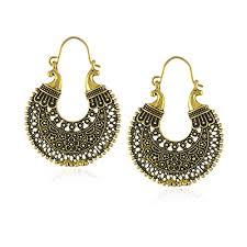 african tribal gypsy carved chandelier hoop earrings for women gold