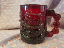 ruby red glass santa coffee cup