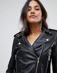 women y a s leather jacket with zip detail 1297326 lzlpuwi