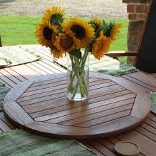 lazy susan turntable wood tabletop round 28 inch outdoor umbrella hole patio